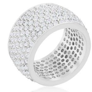 Cherish Wide Pave Cluster Eternity Ring